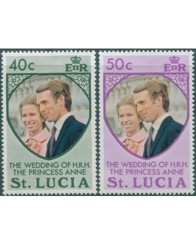 St Lucia 1973 SG365-366 Princess Anne Wedding MNH