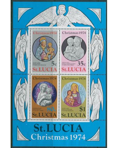 St Lucia 1974 SG388 Christmas MS MNH