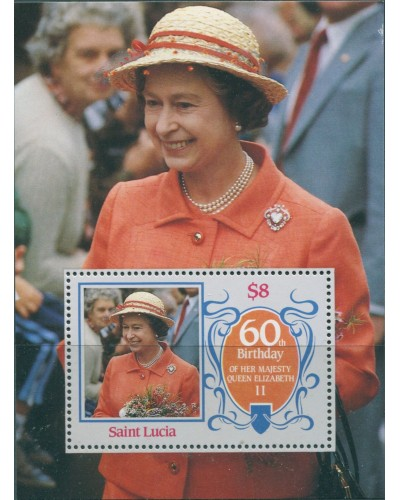 St Lucia 1986 SG880 QEII 60th Birthday MS MNH