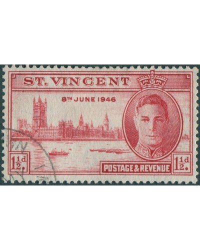 St Vincent 1946 SG160 1½d red Victory KGVI FU