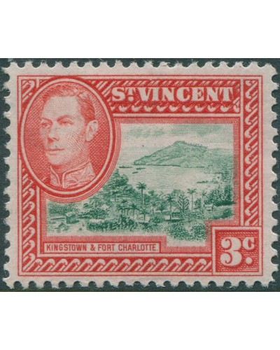 St Vincent 1949 SG166 3c green and red Kingston MLH
