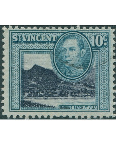 St Vincent 1949 SG170a 10c black and turquoise Bathing Beach FU