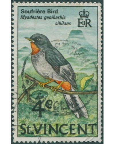 St Vincent 1970 SG289 4c Rufous-throated Solitaire FU