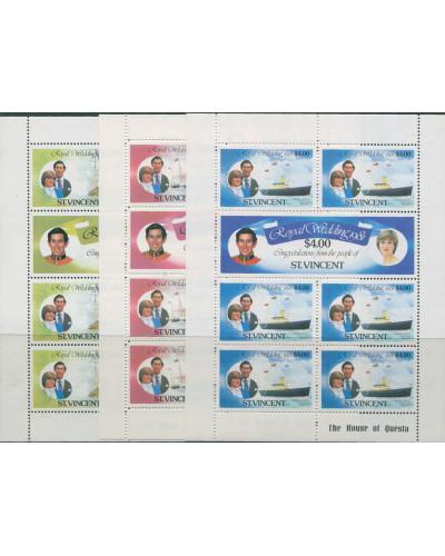 St Vincent 1981 SG668-673 Royal Wedding sheets set MNH