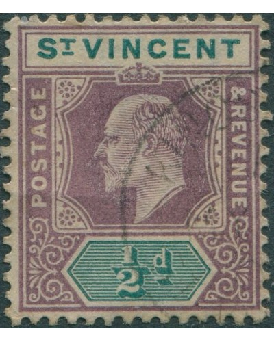 St Vincent 1902 SG85a ½d purple and green KGV FU