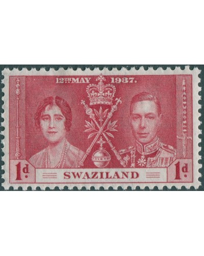 Swaziland 1937 SG25 1d red Coronation KGVI MLH