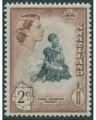 Swaziland 1961 SG79 2c black and brown Swazi Married Woman QEII MLH