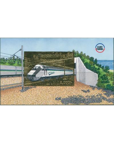 Tanzania SG2057X 1995 2000/- gold foil Euro Tunnel MS MNH