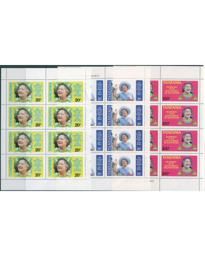 Tanzania 1985 SG425-427 Queen Mother sheetlets MNH