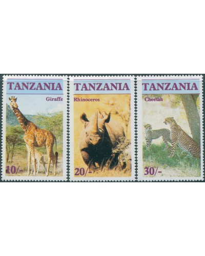 Tanzania 1986 SG480-482 Endangered Animals MNH