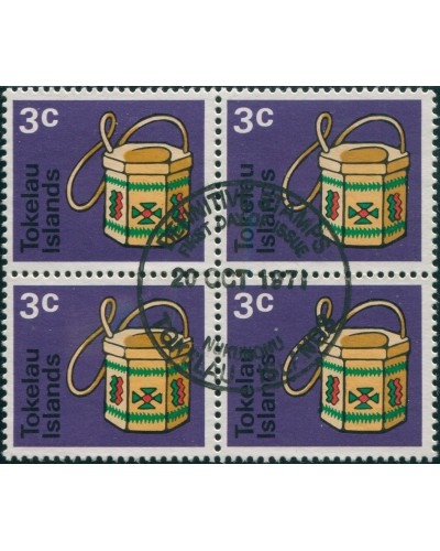 Tokelau 1971 SG27 3c Handicrafts block FU