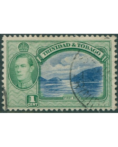 Trinidad and Tobago 1938 SG246 1c blue and green First Boca KGVI FU
