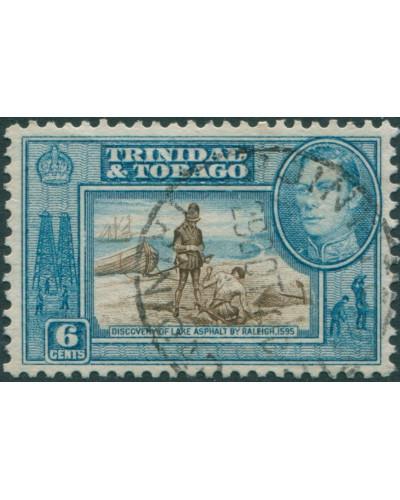 Trinidad and Tobago 1938 SG250 6c brown and blue Lake Asphalt FU