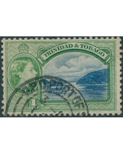 Trinidad and Tobago 1953 SG267 1c blue and green First Boca QEII FU