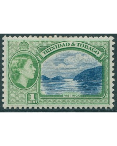 Trinidad and Tobago 1953 SG267 1c blue and green First Boca QEII MLH