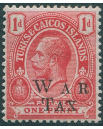 Turks and Caicos Islands 1918 SG150 1d red KGV with WAR TAX ovpt MLH
