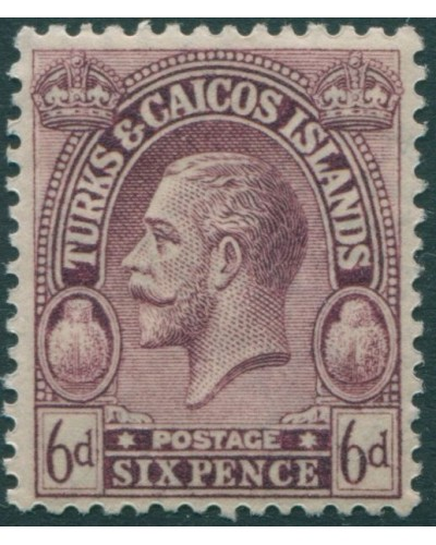Turks and Caicos Islands 1922 SG171 6d purple postage KGV MLH