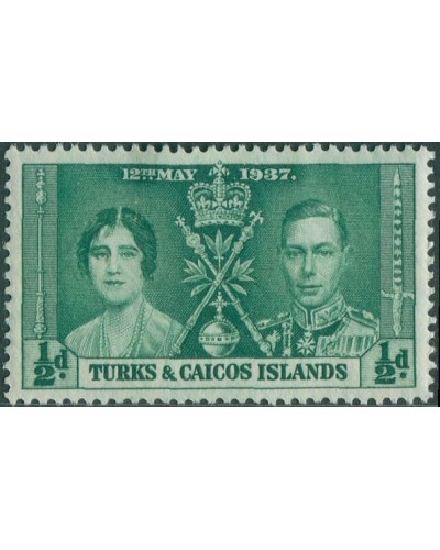 Turks and Caicos Islands 1937 SG191 ½d green Coronation KGVI MH