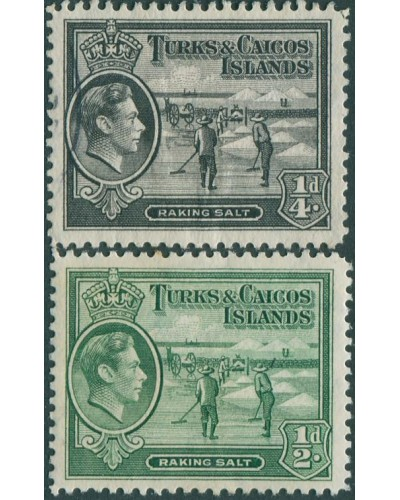 Turks and Caicos Islands 1938 SG194-195a Raking Salt KGVI MH