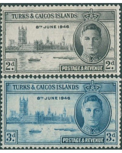 Turks and Caicos Islands 1946 SG206-207 Victory KGVI set MLH