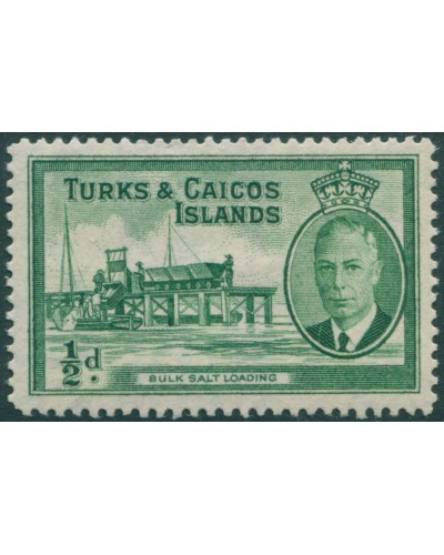 Turks and Caicos Islands 1950 SG221 ½d green Salt Loading KGVI MLH