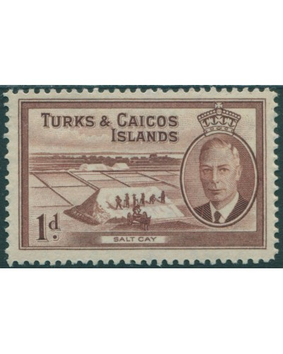 Turks and Caicos Islands 1950 SG222 1d brown Salt Cay KGVI MLH