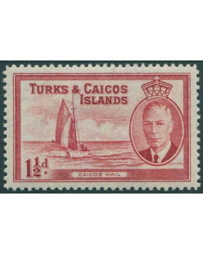 Turks and Caicos Islands 1950 SG223 1½d red Mail boat KGVI MLH