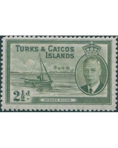 Turks and Caicos Islands 1950 SG225 2½d olive Sponge Diving KGVI MLH