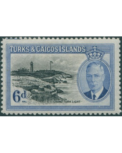 Turks and Caicos Islands 1950 SG228 6d black and blue Grand Turk Light KGVI MLH