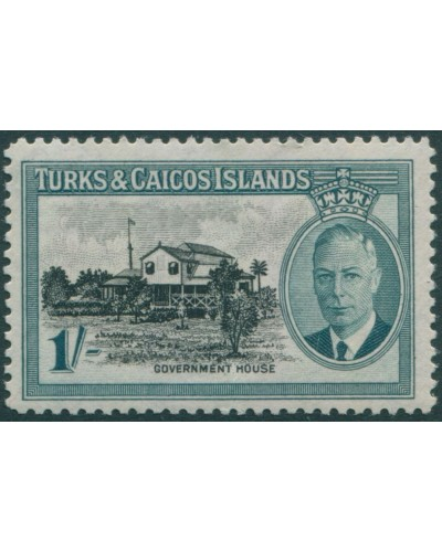 Turks and Caicos Islands 1950 SG229 1/- black and turquoise Government House KGVI MLH