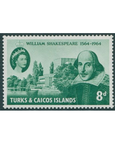 Turks and Caicos Islands 1964 SG257 8d green Shakespeare MNH