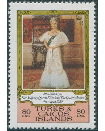 Turks and Caicos Islands 1980 SG607 80c 60th Birthday Queen Mother MNH