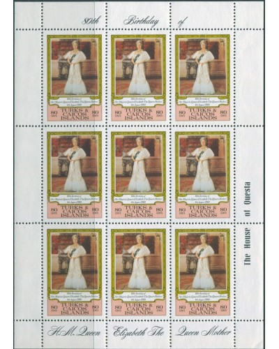 Turks and Caicos Islands 1980 SG607 80c Queen Mother sheet MNH