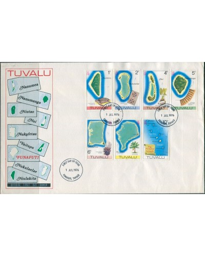 Tuvalu 1976 SG30-36 1c to 10c Maps FDC