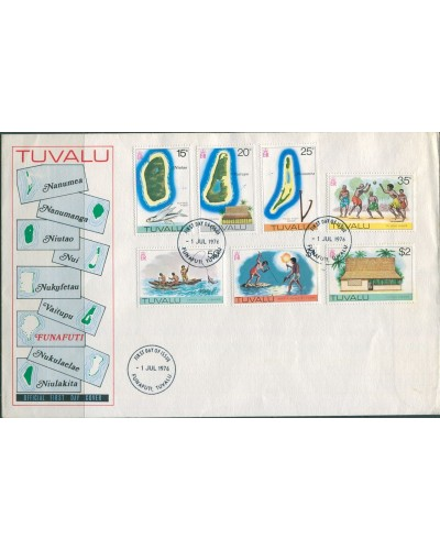 Tuvalu 1976 SG37-43 15c to $2 Maps FDC