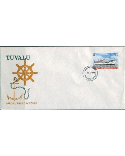 Tuvalu 1976 SG44 $5 Ship FDC