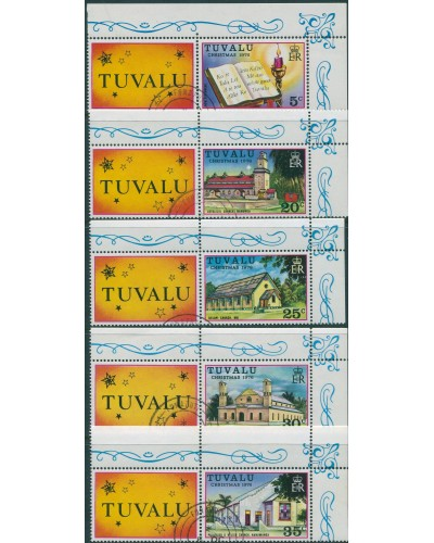 Tuvalu 1976 SG45-49 Christmas set with corner seledge and tabs FU