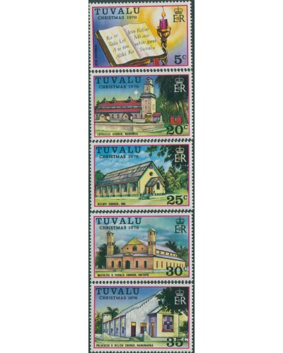 Tuvalu 1976 SG45-49 Christmas Church set MLH