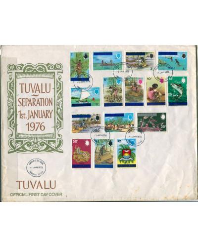 Tuvalu 1976 SG5-25 Island Scenes ovpt set FDC