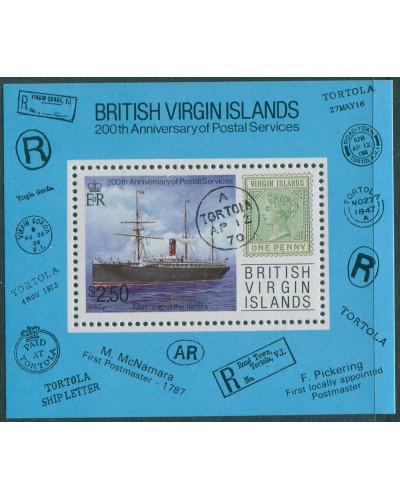 British Virgin Islands 1987 SG666 Postal Services Mail Ship MS MNH