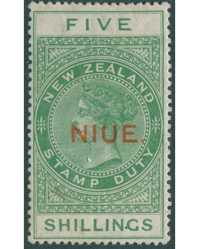 Niue 1918 SG35 5s yellow-green QV fiscal MH
