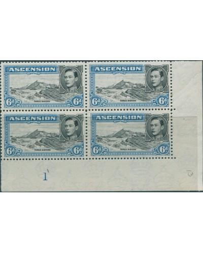 Ascension 1938 SG43a 6d KGVI Three Sisters p13 imprint block right MNH