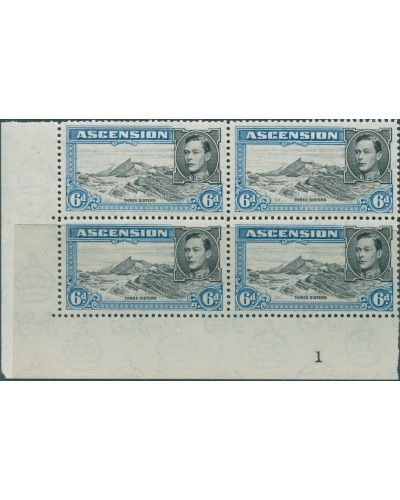 Ascension 1938 SG43a 6d KGVI Three Sisters p13 imprint block left MNH