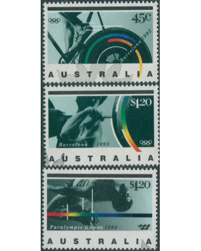 Australia 1992 SG1358-1360 Olympic and Paralympic Games set FU