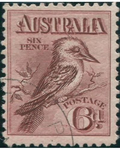 Australia 1914 Sc#18,SG19 6d Laughing Kookaburra FU