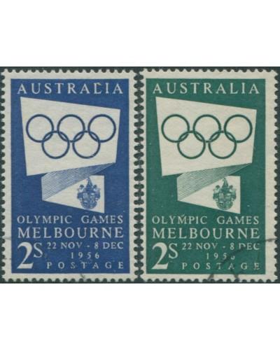 Australia 1954 SG280-280a 2/- Olympic Rings set FU