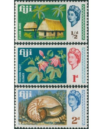 Fiji 1968 SG371-373 Bure Shell Flower QEII part set MLH
