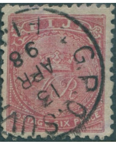Fiji 1896 SG57 6d dull rose Crown and VR p11 FU