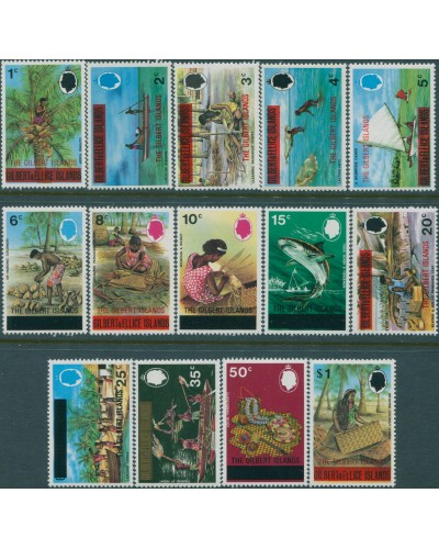 Gilbert Islands 1976 SG3-22 Definitives islanders ovpts basic set of 14 MNH
