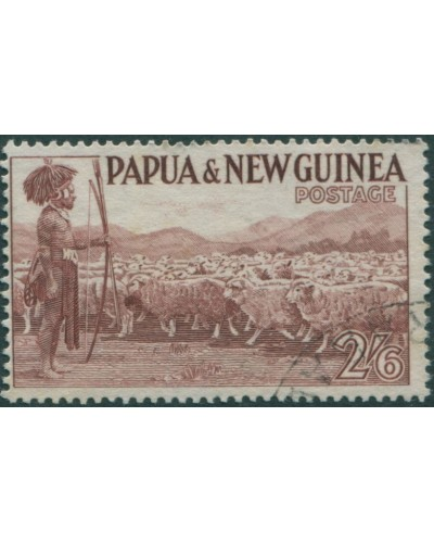 Papua New Guinea 1952 SG13 2/6d Native shepherd FU